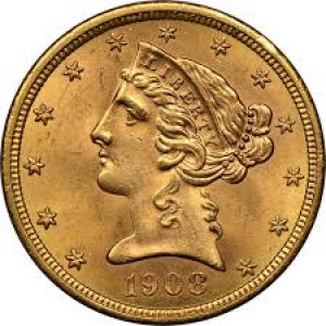 1908 $5 Liberty Head Half Eagle NGC MS61