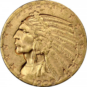 1909-D $5 Indian Head Half Eagle PCGS MS64